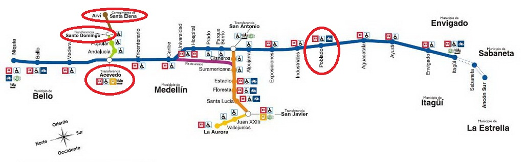 Medellin Metro Map: How to get from El Poblado to Metro Cable Car Santo Domingo